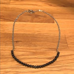 Silver with Black Beaded Arc Necklace